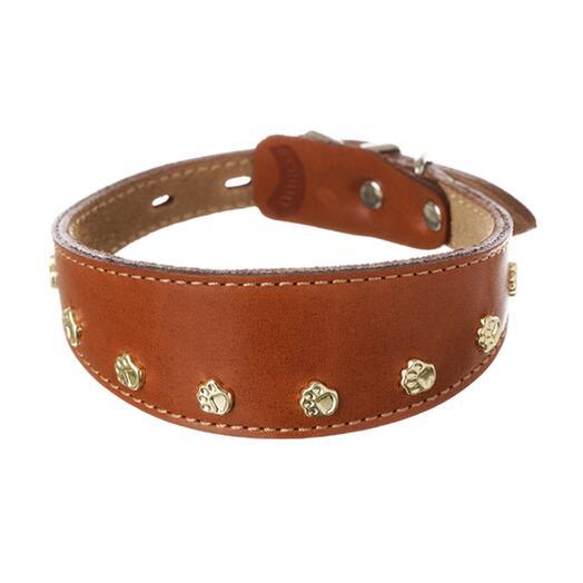 Ошейник каплевидный безопасный из натуральной кожи DOG AND GO коричневый S 24-32см 15/37мм