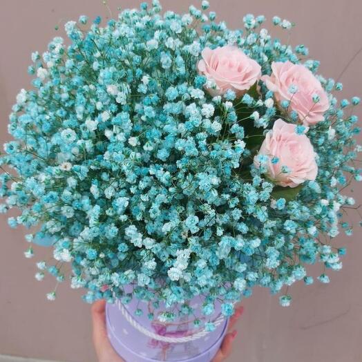 Цветы в коробке «Голубая Луна»