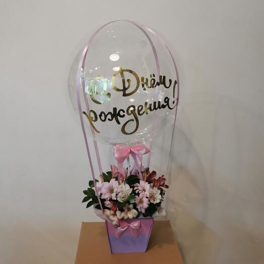 """Цветы в коробке """"На воздушном шаре"""""""