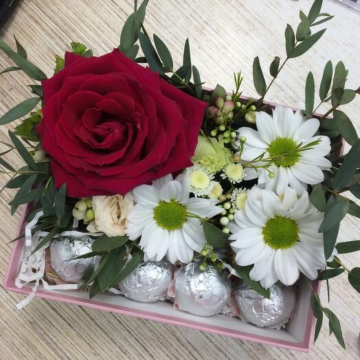 A box with candles and flowers
