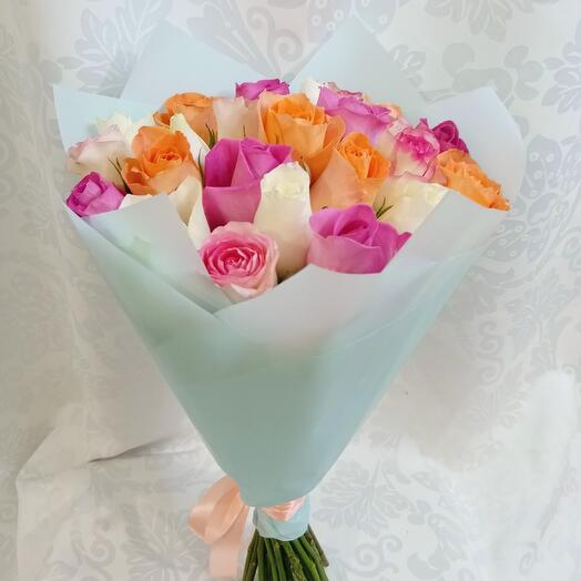 Букет из 25 роз нежный микс