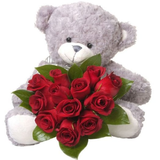 Букет Люблю тебя! из красных роз с зеленью и медведь 40см Код 160150: букеты цветов на заказ Flowwow