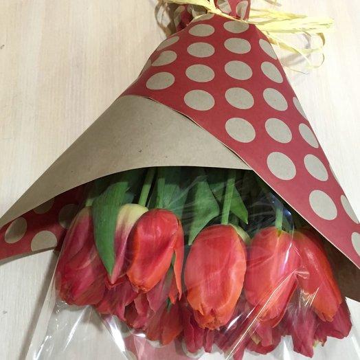 Тюльпаны 15 в крафте: букеты цветов на заказ Flowwow