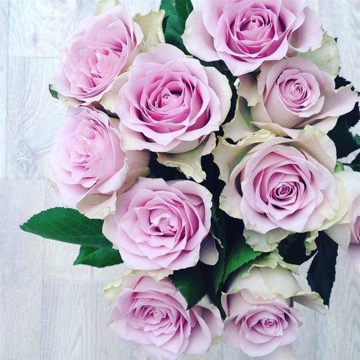Букет из 11 розовых кенийская роза: букеты цветов на заказ Flowwow