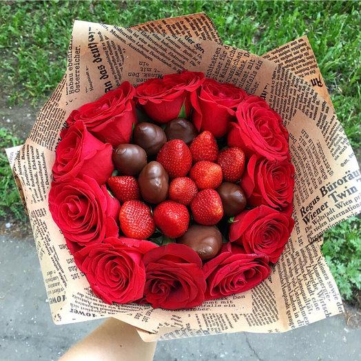 Клубничный букет в бельгийском шоколаде