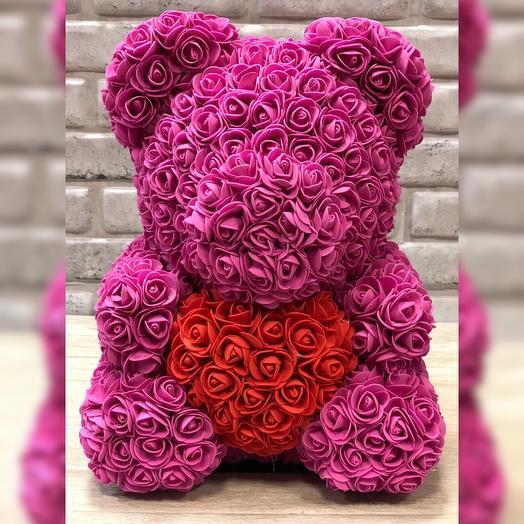 Ярко-розовый мишка из роз: букеты цветов на заказ Flowwow