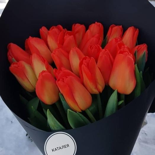 Букеь из 25 красных тюльпанов: букеты цветов на заказ Flowwow