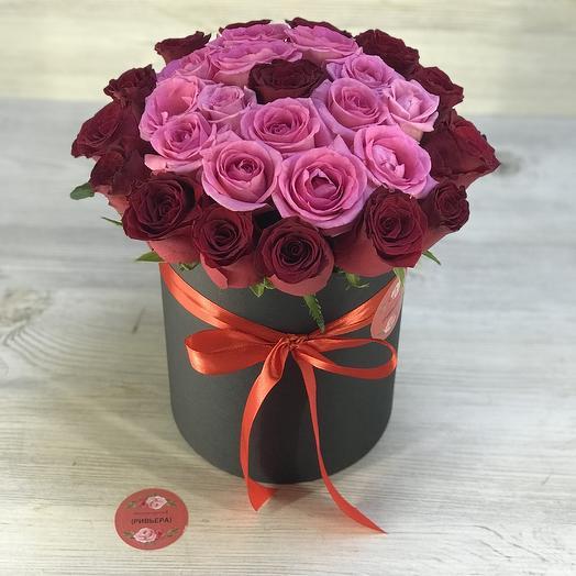 Коробочка из 29 роз: букеты цветов на заказ Flowwow