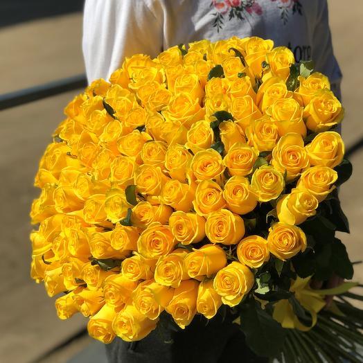 Розы. Букет из 101 желтой розы (50 см). N407