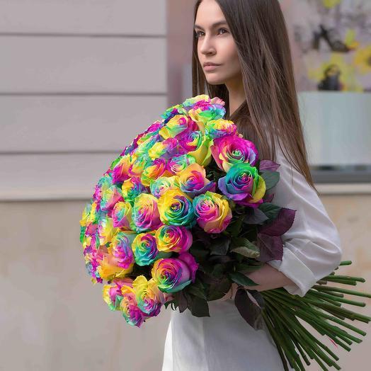 """Букет """"51 Роза радужная"""": букеты цветов на заказ Flowwow"""