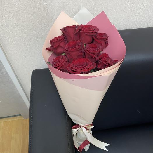 Букет из 9 красных роз (50 см ): букеты цветов на заказ Flowwow