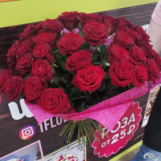 31 роза в розовом оформлении