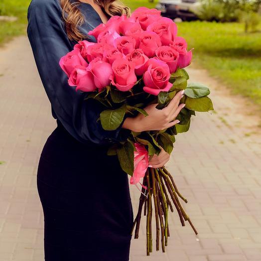 Букет из 21 розовой розы Премиум