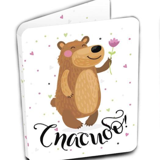 Мини-открытка, СПАСИБО, молочный шоколад, 5 гр