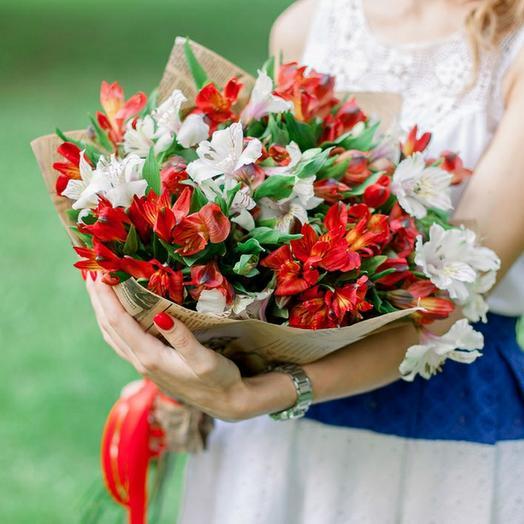 15 красных и белых альстромерий