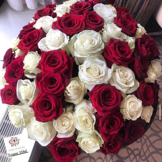 Букет из 51 розы Инь-Янь