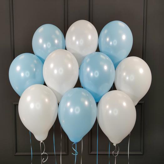 Воздушные бело-голубые шарики 25 шт