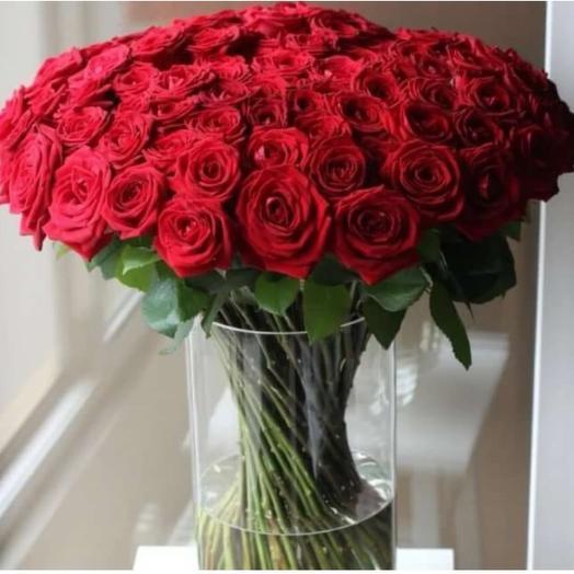 101 красная роза. Ваза в подарок