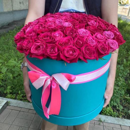 101 Роза импорт в шляпной коробке