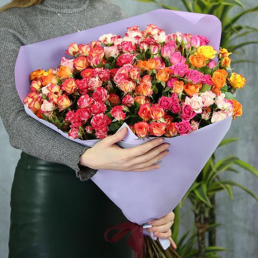 25 кустовых роз микс 70 см Кения