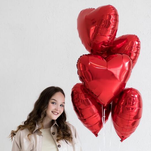 Сет шаров красные сердца