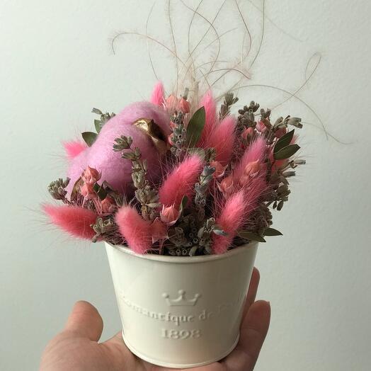 Ведерко с сухоцветами Розовые мечты