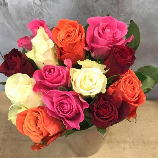 Букет из 13 разноцветных кенийская роза: букеты цветов на заказ Flowwow