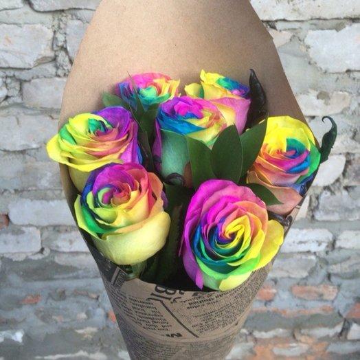 Букет 7 радужных роз