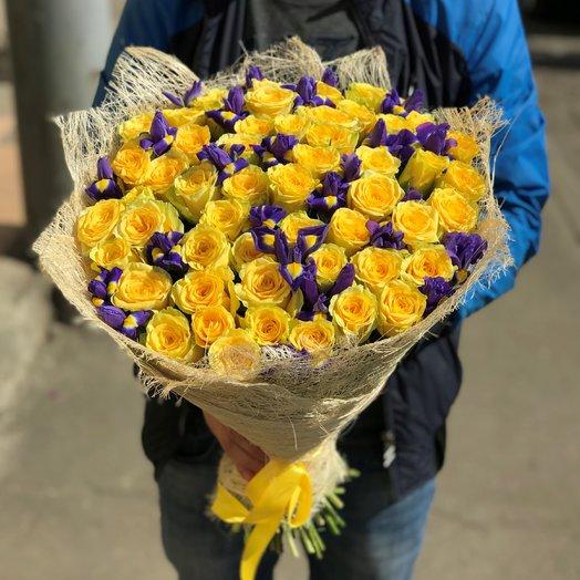 Розы Желтые. Ирисы. N97: букеты цветов на заказ Flowwow