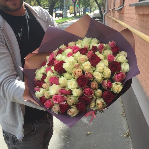 Букет из 101 розы: букеты цветов на заказ Flowwow