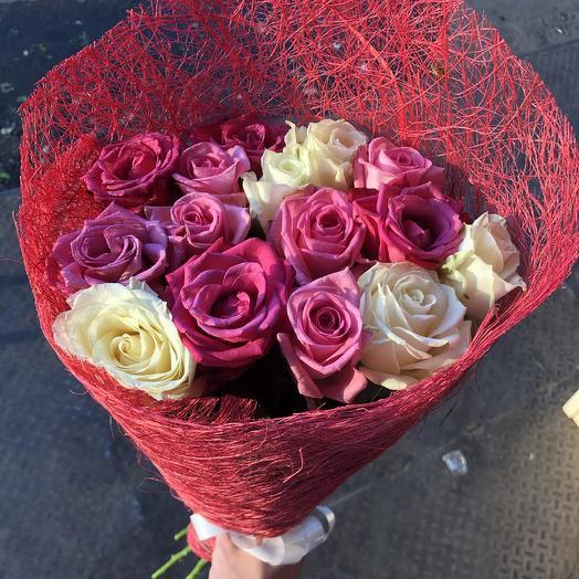 15 роз бабл микс: букеты цветов на заказ Flowwow