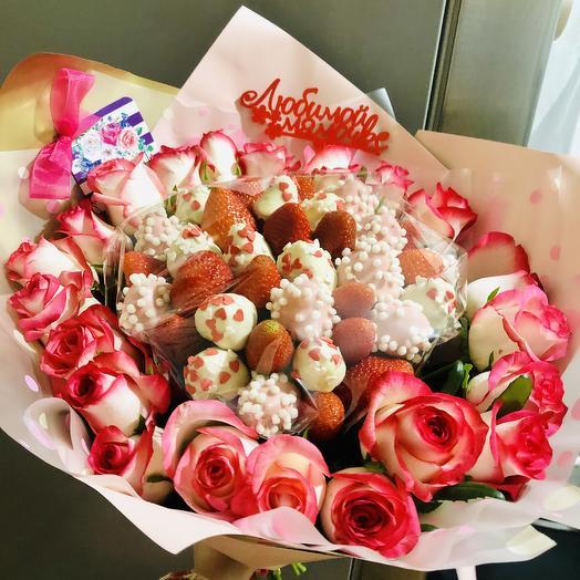 Клубника «Любимой мамочке»: букеты цветов на заказ Flowwow