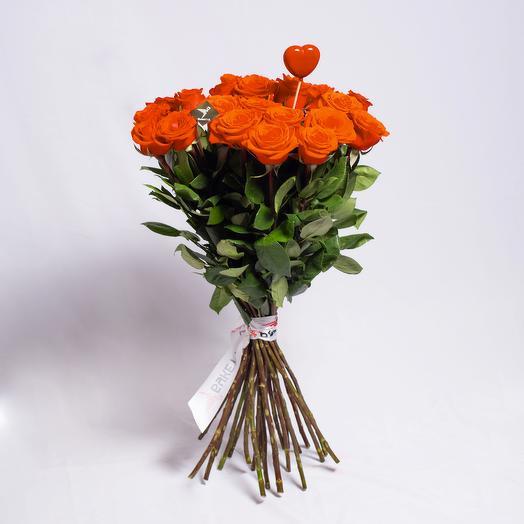 25 роз с сердечком к празднику всех влюбленных: букеты цветов на заказ Flowwow