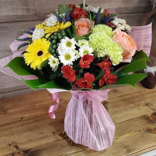 Букет с герберой, летний: букеты цветов на заказ Flowwow
