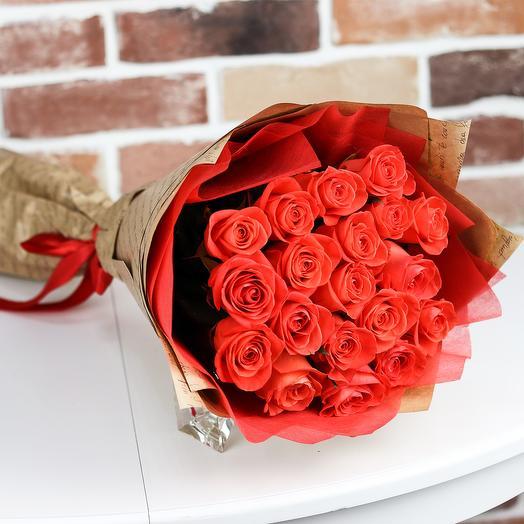 Розы. Букет из 19 оранжевых роз. N516