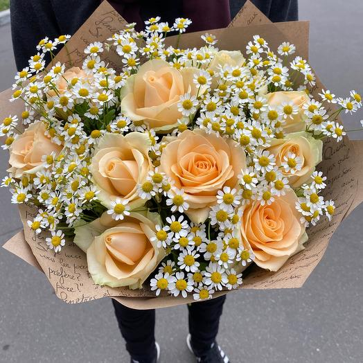 Роза с ромашками