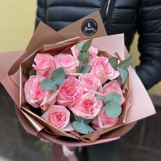 Букет пионовидных роз Pink O hara