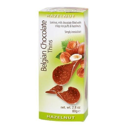 Шоколадные чипсы Belgian Chocolate Thins Hazelnut 80 гр