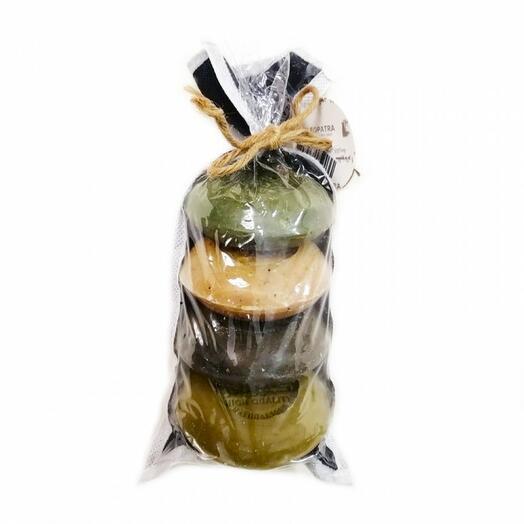 Набор оливкового мыла в мешке, с маслом лавра и сосны, с ромашкой, с маслом черного тмина, с медом, 4 шт., 400 гр