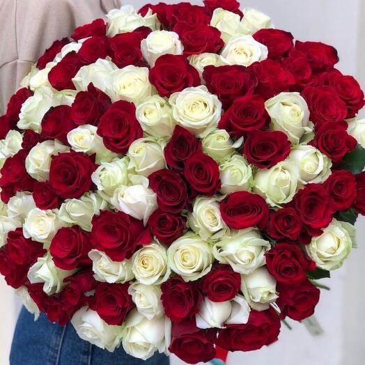 101 Красно белой розы