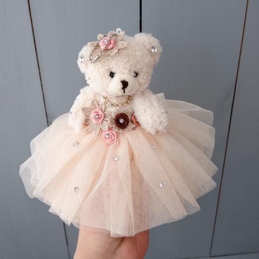 Мишка в платье 15см