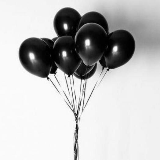 Набор чёрных гелиевых шаров 9 штук