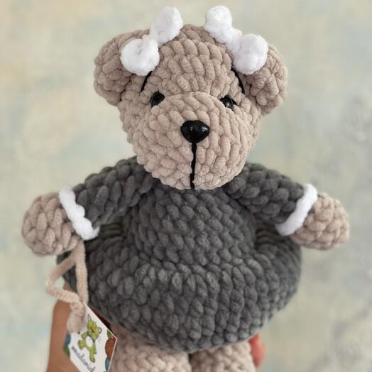 Мягкая игрушка первоклассница мишка плюшевый подарок на 1 сентября
