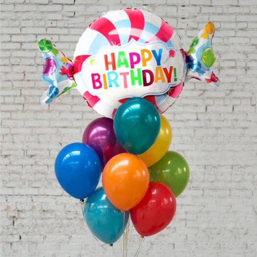 Фонтан шаров на день рождения 10 шаров и конфета