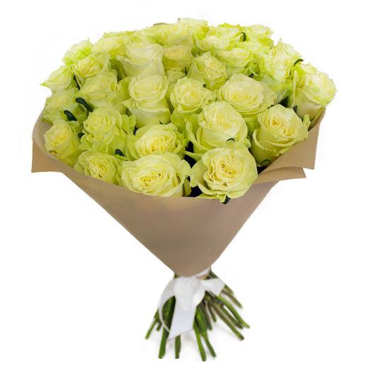 Букет из 35 белых роз, альстромерия