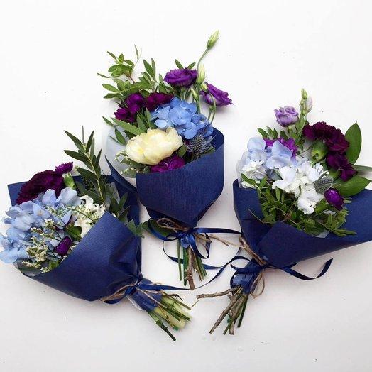 3 букета Гортензия, Пион и Эустома - Танго из трио: букеты цветов на заказ Flowwow