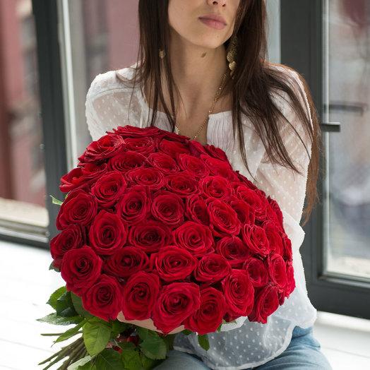 Букет из 25 красных роз 60 см: букеты цветов на заказ Flowwow