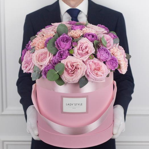 Авторский букет Ruby в шляпной коробке XL: букеты цветов на заказ Flowwow