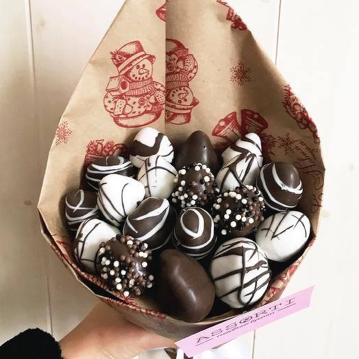 Клубничный букет «зебра шоколадная»: букеты цветов на заказ Flowwow