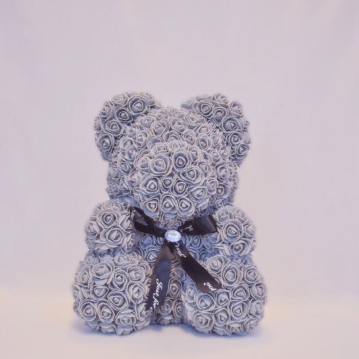 Мишка из роз RozaRose Серый - 40 см: букеты цветов на заказ Flowwow